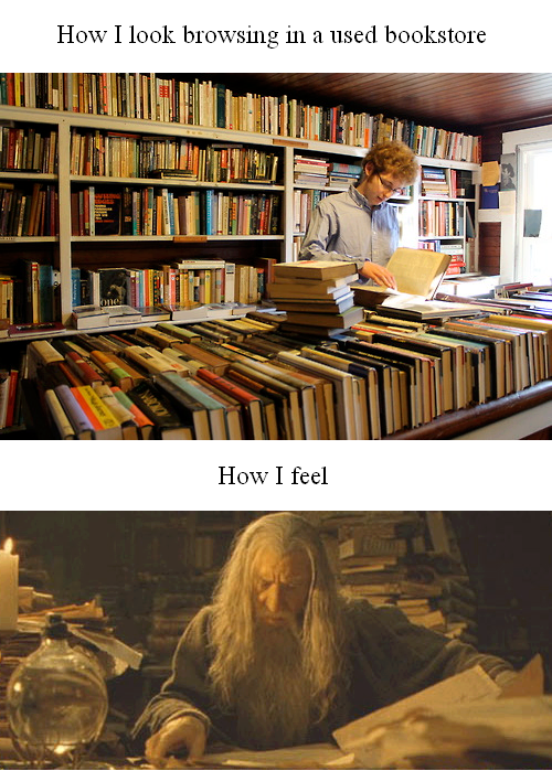 Browsing a used book store